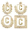 golden vintage monograms set heraldic logos c vector image