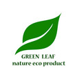 green leaf bio eco organic logo design template vector image