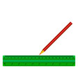 green ruler of red pencil isolated vector image vector image