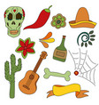 hand drawn set of mexican symbols - guitar vector image vector image