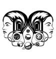 hand drawn young girl with door in her head vector image vector image