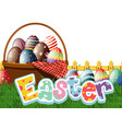happy easter font design with decorated eggs vector image vector image