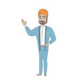Hindu businessman pointing at something by hand vector image