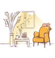 interior room with retro armchair and sleeping vector image vector image