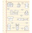 Love design papaer of doodles vector image