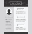 modern resume template vector image vector image