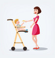 mother feeds baby cartoon style vector image