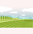 natural landscape with wide plowed fields and high vector image vector image