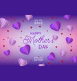origami paper violet hearts on gradient background vector image vector image
