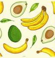 pattern with avocado and banana vector image