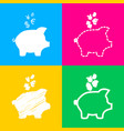 piggy bank sign with the currencies four styles vector image vector image