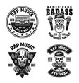 rap and hip-hop set of four black emblems vector image vector image