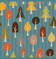 seamless pattern of simple cartoon autumn trees vector image