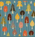 seamless pattern of simple cartoon autumn trees vector image vector image
