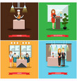 set of restaurant people posters in flat vector image vector image