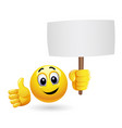 smiley holding advertise smiley emoticon vector image vector image