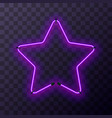star-shaped bright purple neon frame template vector image vector image