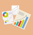 three analytics documents colorful vector image vector image