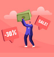 total sale concept young man customer holding vector image vector image