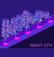 Urban landscape with isometric buildings lanterns