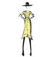 woman in the yellow dress and hat fashion models vector image vector image