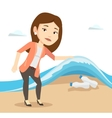 Woman showing plastic bottles under sea wave vector image vector image
