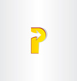 yellow letter p with arrow vector image vector image
