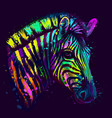 zebra abstract neon multicolored portrait vector image vector image