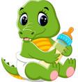 cute baby crocodile cartoon vector image