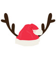 antlers with santa hat vector image