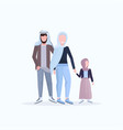 arabic father mother and little daughter walking vector image