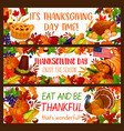 autumn holiday banner set for thanksgiving design vector image vector image