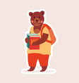 bear student with backpack and books vector image vector image