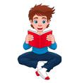Boy is reading a book vector image vector image