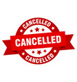 cancelled ribbon cancelled round red sign vector image vector image