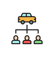 car sharing service carsharing flat color vector image