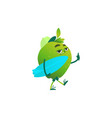 cartoon green apple party character vector image vector image