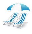 chair and beach umbrella isolated vector image vector image