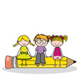 children sitting on a pencil vector image