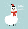 christmas card with cute llama vector image vector image