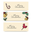 christmas horizontal banners vintage drawings vector image