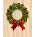 Christmas wreath Green branch of fir with red vector image vector image