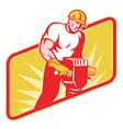 construction worker jackhammer vector image vector image