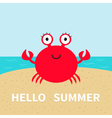 Crab on the beach Sea ocean sky sand Cute cartoon vector image vector image