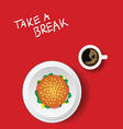 cup of coffe with hamburger on red vector image vector image