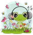 cute cartoon frog on a meadow vector image vector image
