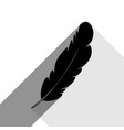 feather sign black icon with vector image vector image