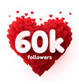 followers thank you red heart for social network vector image vector image