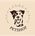 funny portrait smiling dog emblem or logo vector image