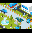 futuristic city with transport city landscape vector image